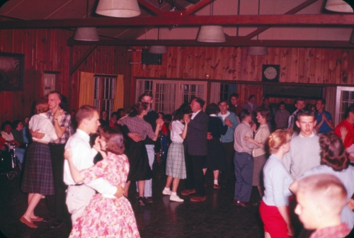 Dancing at a Methodist church youth retreat, 1960. Everyone's hands appear to be where Jesus can see them.